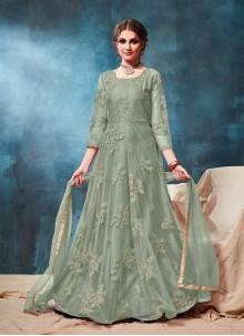 Green Ceremonial Net Anarkali Salwar Kameez