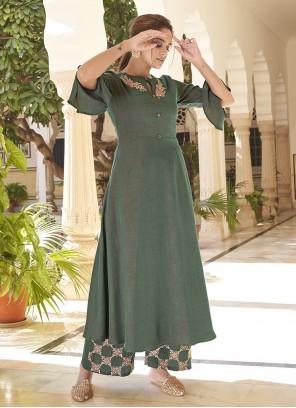 Green Ceremonial Party Wear Kurti