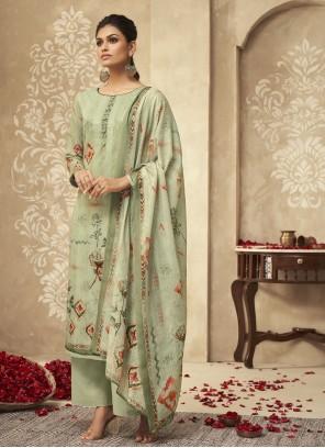 Green Ceremonial Satin Silk Designer Palazzo Suit