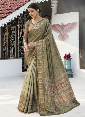 Green Ceremonial Silk Traditional Saree