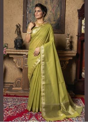 Green Ceremonial Silk Trendy Saree