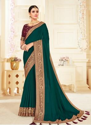 Green Patch Border Ceremonial Trendy Saree