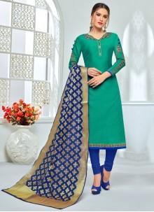 Green Chanderi Cotton Anarkali Salwar Suit