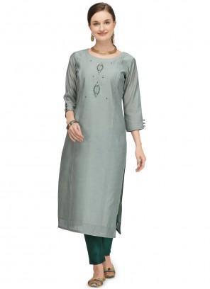 Green Chanderi Designer Kurti