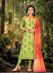 Green Chanderi Embroidered Churidar Designer Suit