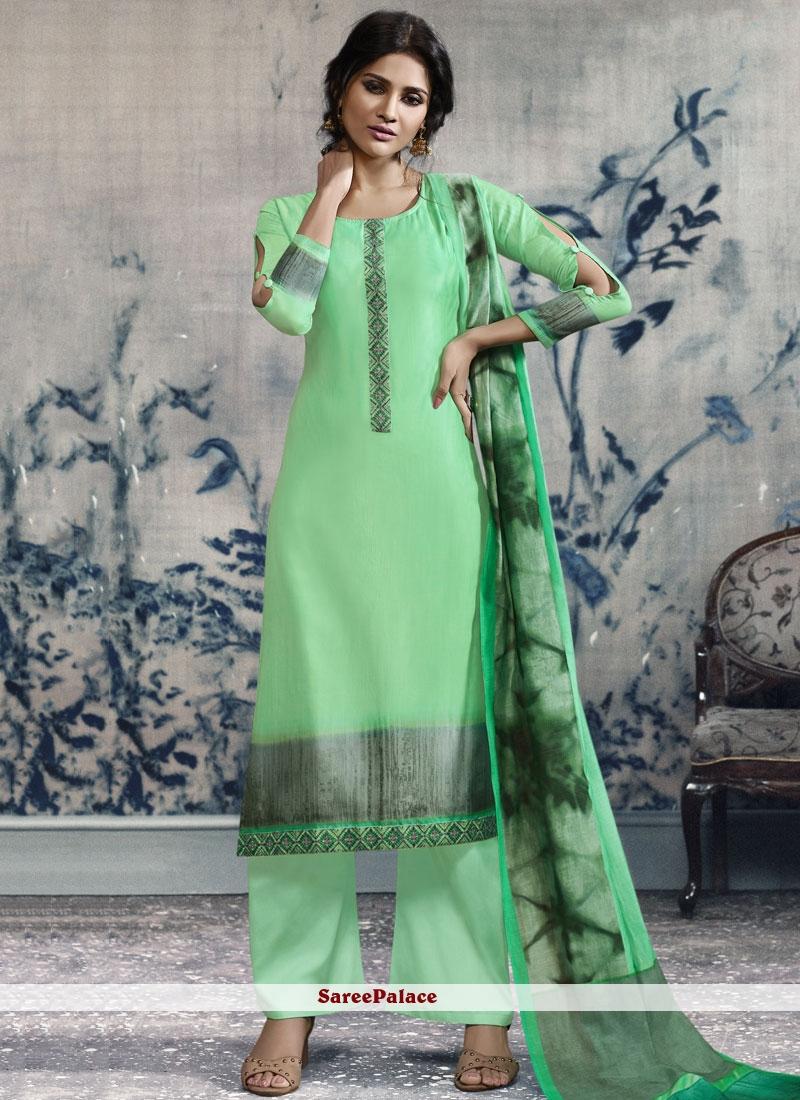 Green Chanderi Print Designer Palazzo Suit