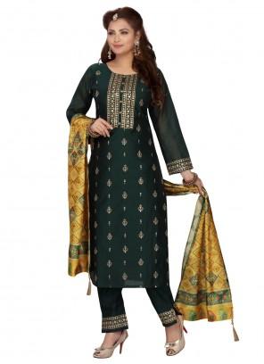Green Chanderi Readymade Suit