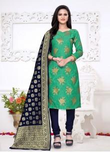 Green Weaving Zari Churidar Suit
