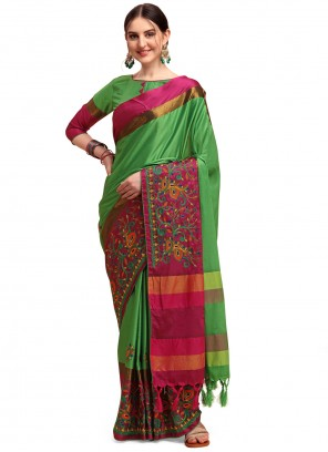 Green Cotton SilkClassic Saree
