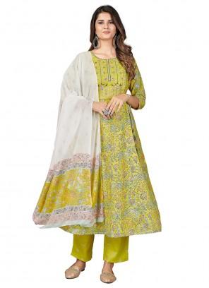 Green Color Printed Anarkali Suit