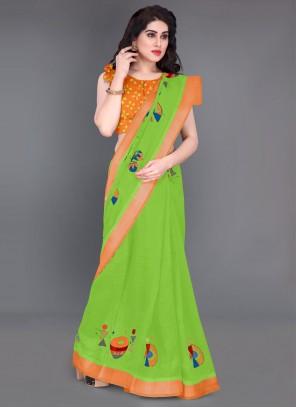 Green Color Cotton Casual Saree