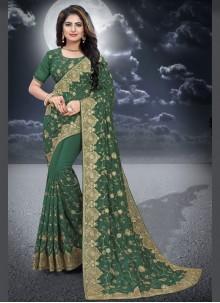 Green Color Classic Designer Saree