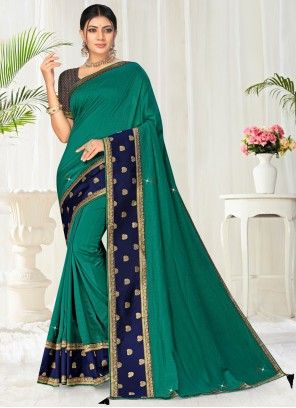 Green Color Classic Saree