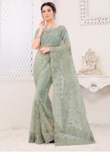Green Color Embroidered Classic Saree