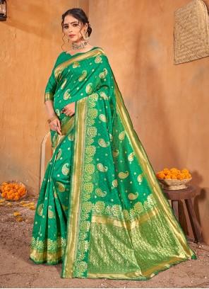 Green Color Weaving Zari Work Classic Saree