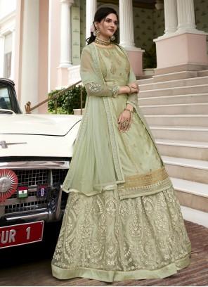 Green Color Designer Long Lehenga Choli