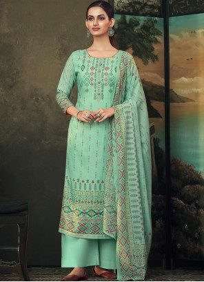 Green Color Designer Palazzo Salwar Suit