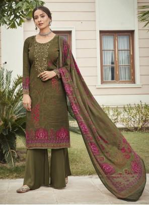 Green Color Designer Palazzo Suit