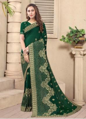 Green Color Designer Saree