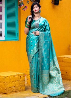 Green Color Designer Traditional Saree
