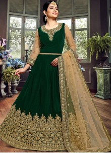 Green Color Floor Length Anarkali Suit