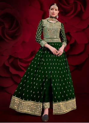Green Color Floor Length Anarkali Suit