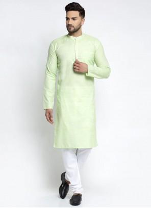 Green Color Cotton Kurta Pyjama
