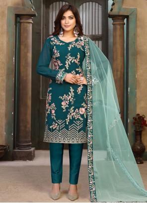Green Color Faux Georgette Pant Style Suit