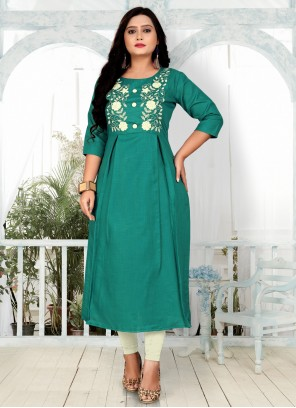 Green Color Embroidered Party Wear Kurti
