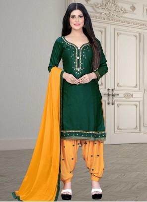 Green Color Patiala Salwar Kameez