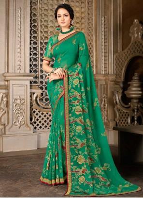 Green Color Faux Chiffon Printed Saree