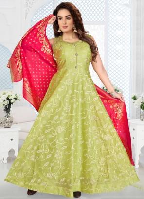 Green Color Readymade Salwar Kameez