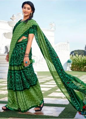 Green Color Vichitra silk Abstract Print Saree