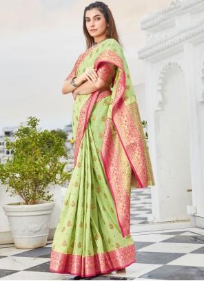 Green Color Handloom Cotton Traditional Saree