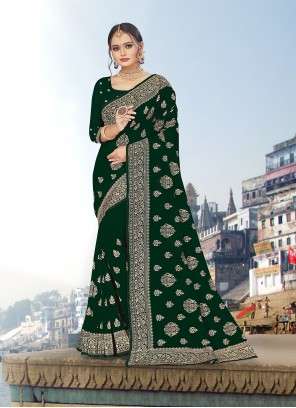 Green Color Embroidered Trendy Saree
