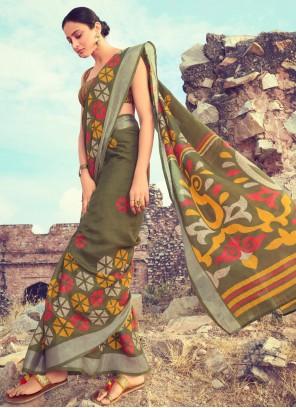Green Contemporary Saree