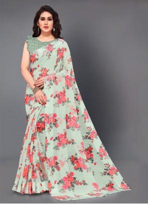 Green Cotton Casual Saree