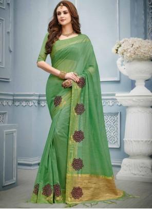 Green Cotton Classic Designer Saree