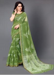 Green Cotton Classic Saree