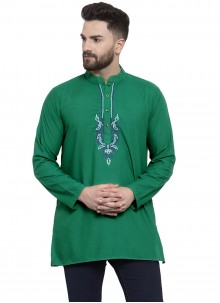Green Cotton Embroidered Kurta