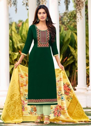 Green Cotton Embroidered Straight Suit