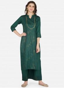 Green Cotton Fancy Party Wear Kurti