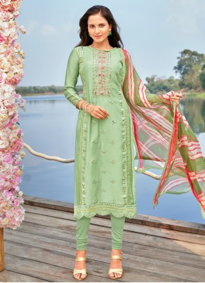 Green Cotton Festival Churidar Suit