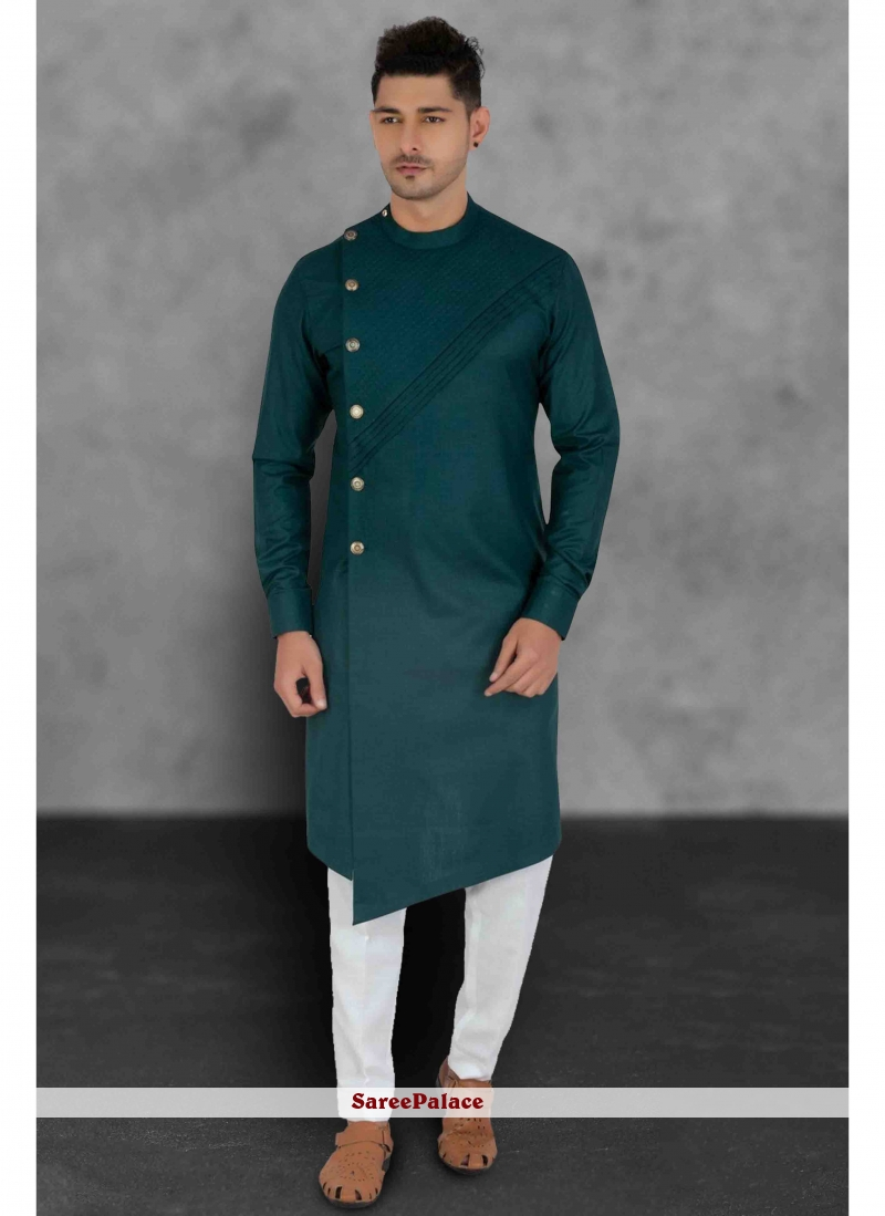 Green Cotton Plain Kurta Pyjama
