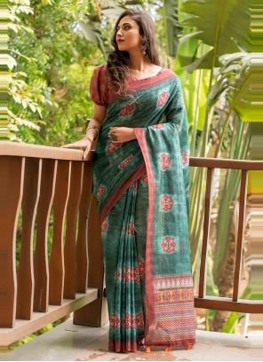 Green Cotton Linen Printed Saree