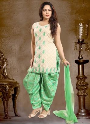 Green Cotton   Punjabi Suit