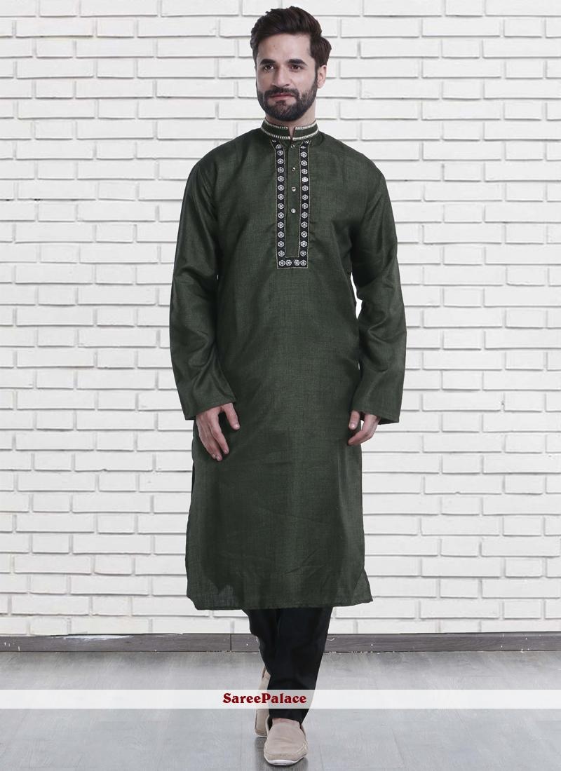 Green Cotton   Reception Kurta Pyjama