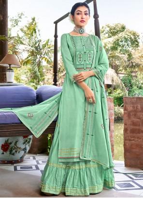 Green Cotton Resham Designer Salwar Kameez