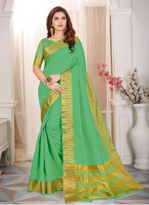 Green Cotton Silk Fancy Classic Saree
