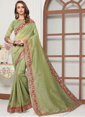 Green Cotton Silk Festival Trendy Saree